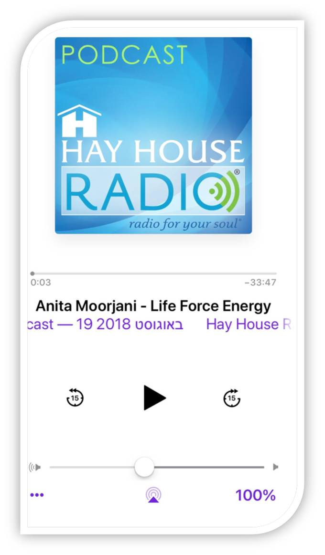 צילום של דף הפודקאסט של hay house radio של הפודקאסט anita morrjani - life force energy