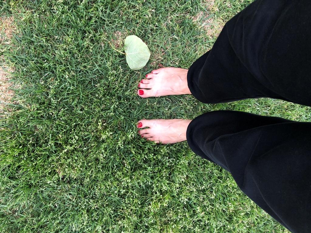רגליים של אישה, עם מכנס שחור, יחפה, עומדת על הדשא